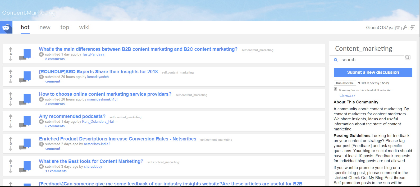 An example of a content marketing subreddit.